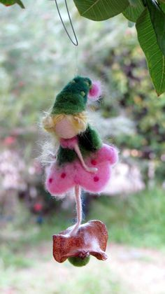 Fairy ornament Needle felted fairy Waldorf inspired doll Candy