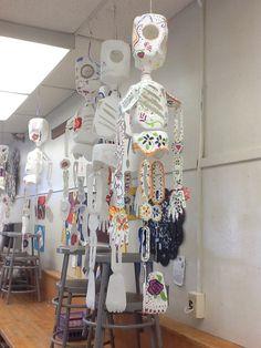 Milk jug skeletons for Day of the Dead