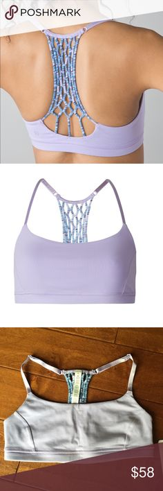 New Lululemon True Self Bra II SZ 6 Lululemon true self bra II Size 6 New with tags Color code:  LILC/SDLC Light support for a b cup cups NOT included From a 100% smoke free environment  Color is a pretty purple color like first 2 pictures - my phone camera washed out the color.  The first 2 pictures are the accurate color of bra. lululemon athletica Intimates & Sleepwear Bras