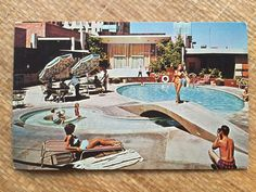 Vintage 60's Mid Century Swimming Pool Postcard by ElkHugsVintage