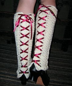 HOLIDAY SALE Crocheted Leg Warmers With Ribbon Lace by fassbaby
