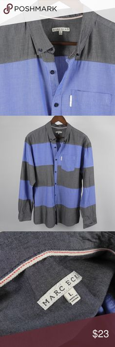 "L Marc Ecko Cut & Sew Blue Gray Men's Shirt A3 Thank you for your interest in my item. You're going to love it — I guarantee it!   Top to Bottom: 30""  Armpit to Armpit: 23"" Shoulder to Sleeve Cuff: 25.5""   Please remember to scroll through my other items and save on shipping when you purchase multiple items! Marc Ecko Shirts Casual Button Down Shirts"