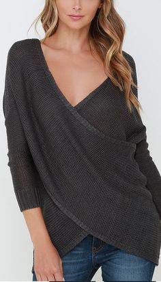 Dark Grey Wrap Sweater More