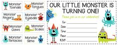 Get these fun free printables! Silly food labels and invitations for a monster party!