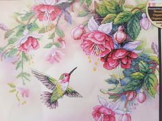 Dimensions stamped cross stitch kit, Hummingbird and Fuchsias design by Lena Liu, No 13139 by KindredClassics on Etsy Dimensions Cross Stitch, Hummingbird Flowers, Cross Stitch Kits, Floral Fabric, Hobbies And Crafts, American Artists, Craft Gifts, Cross Stitching, Art Forms