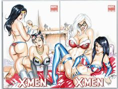 Marvel Comics Characters Female | men Sketch Cover DC Marvel Sexy Girls by HM1art