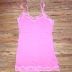A&F pink lace tank Preloved condition! Still had a lot of life, small amounts of piling in places but no major issues! Abercrombie & Fitch Tops Tank Tops