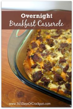Recipe for Overnight Breakfast Casserole with Eggs, Sausage, Green Chiles and Cheese.  Perfect for Christmas morning! #casserole #breakfast ...