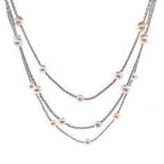 Woven Light metallic Grey-Silver Silk Long Rope style Necklace spaced with 33 white round Freshwater PearlLength No clasp wraps easily around Long Pearl Necklaces, South Sea Pearls, Timeless Design, Fashion Necklace, Fresh Water, Silk, Grey, Gifts, Collection