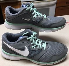 online store c8660 61e04 Nike Flex Experience Grey w Mint Trim Running Shoes Women s Size 9.5 Wide  657810