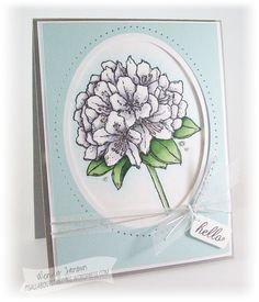 handmade card ... rhododendron ... white create with gray for shadows ... luv the framing with matted negative space oval and piercing along the outside border ... ..
