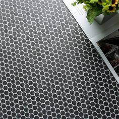Mini black penny round tile circle mosaic of simple and neat style. #mosaic #tiles #construction #flooring
