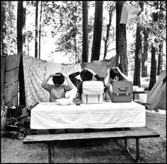 three women fixing their hair while camping at yosemite national park, 1965 LOL. Yes, yes yes!