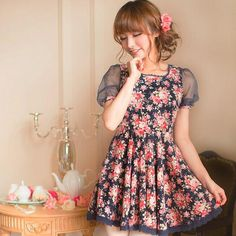 Japanese fashion lovely floral dress a sweet gift for your Mom