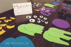 A Monster Party Made Easy Monster party game idea: build monsters! Little Monster Birthday, Monster 1st Birthdays, Monster Birthday Parties, Birthday Party Games, Halloween Birthday, 1st Boy Birthday, First Birthday Parties, Birthday Party Decorations, First Birthdays