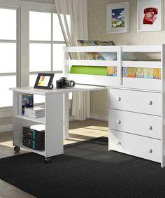 Donco Kids White Loft Work/Storage Bed | zulily