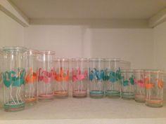 Flamingo - VINTAGE Libbey Flamingo Glassware Glasses X10 (4 colors) Pastel Colors Florida