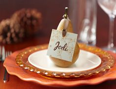 Or if you are extremely talented at picking out perfectly shaped fruit... pear place cards.