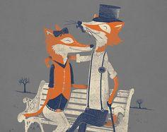Fox print. Fox wall art. Fox poster. Watercolor fox door FoxWallArt
