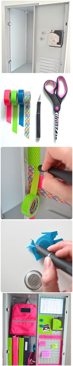 Get Lockerlicious this school season with your #students by #decorating their #lockers! A neat ideas for an arts project that teachers students a lesson in 'self expression.' ;) Scotch® Brand supplies used: #Scotch® Brand #Washi Tape. #ScotchStyle #backtoschool #lockerdesign #fun