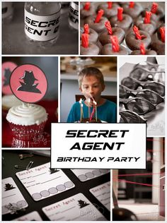 Secret Agent Birthday Party - Free  printables for spy invitations, cupcake toppers, etc. Also fun ideas for spy games.