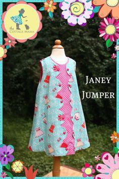 Mädchen Kleid gedruckten Muster Janey Jumper  von TheCottageMama, $12.50