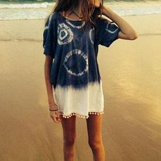 Loose Casual Round Neck Short-Sleeved Tie-Dyed Blouses