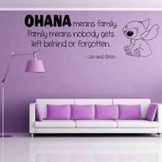 OHANA wall quote family lilo stitch decal sticker kids movie saying vinyl decals