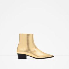 ZARA - WOMAN - GOLD TONE FLAT ANKLE BOOTS