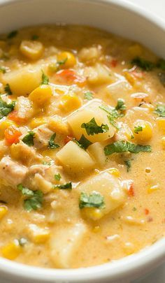 Chipotle Chicken & Corn Chowder - If you're in need of a hearty bowl of soup to warm your soul, this one will serve you well. No more canned soup here! A thick and hearty soup full of chicken, corn, cheese, peppers and just the right amount of spice. Think Food, I Love Food, Good Food, Yummy Food, Great Recipes, Favorite Recipes, Amazing Recipes, Delicious Recipes, Healthy Recipes