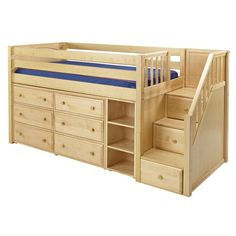 The Marlowe Low Loft Bed with Dressers, Bookcase and Staircase is a fun and functional loft for your child!