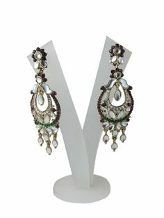 Bollywood Chandeliers Red Green Dangling Earrings Exotic Jewelry: Tarini Jewels: Jewelry