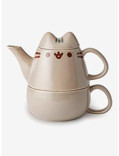 It's time for tea for you and Pusheen! This cute tea for one set has a stacking teapot and teacup, with Pusheen's ears on the teapot lid! The perfect thing to go with your snacks! Ceramic 6 x 5 x 10 oz Hand wash only; do not microwave Imported Cute Coffee Mugs, Cute Mugs, Pusheen Cute, Pusheen Toys, Cute Furniture, Cute Kitchen, Kitchen Stuff, Kitchen Ideas, Kitchen Decor