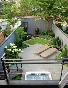 Small back garden  - designed on the diagonal to give the illusion of more space.