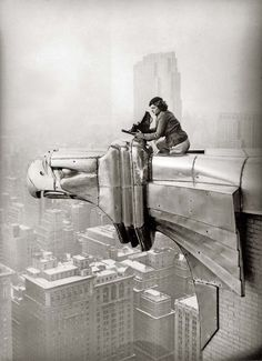 : Margaret Bourke-White working at the top of the Chrysler Building, New York, New York, 1935.