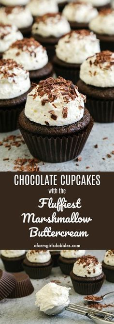 Chocolate Cupcakes with Fluffy Marshmallow Buttercream from afarmgirlsdabbles.com - Moist and delicious chocolate cupcakes are adorned with big scoops of the fluffiest marshmallow buttercream and sprinkled with chocolate shavings. So fun! #marshmallow #buttercream #fluffy #chocolate #cupcakes #chocolatecupcakes #fluffybuttercream #fluffymarshmallowbuttercream