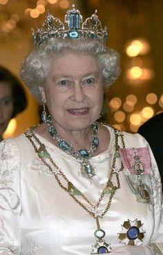 Queen Elizabeth II wearing her Aquamarine parure Tiara