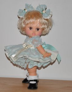 Aqua & Ivory Dress for Baby Face Dolls.