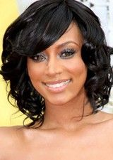 Glamorous 12 Inch Black Lace Front Curly Wig With Bangs