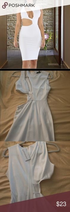 White Cut Out Midi Dress Never been worn. White midi dress with chest and side cut out. Zipper closure in back. Clothes Envy Dresses Midi