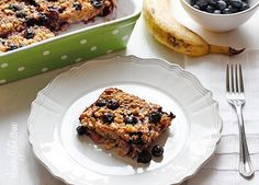 Baked Oatmeal with Blueberries and Bananas Recipe Breakfast and Brunch with bananas, blueberries, honey, quick oats, chopped walnuts, baking powder, cinnamon, salt, fat free milk, eggs, vanilla extract