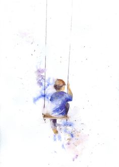 boy on swing. Watercolor Kit, Watercolor Portraits, Watercolor Landscape, Watercolor Illustration, Watercolour Painting, Art Sketches, Art Drawings, Painting People, Sketch Painting