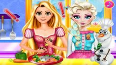Em Elsa e Rapunzel Desastre Culinário, Elsa está preparando um delicioso almoço para seu grande amigo Olaf, mas Rapunzel ficou com ciúmes e resolveu arruinar o almoço de Elsa. Só que para isso ela precisa de sua ajuda. Ajude Rapunzel fazer uma brincadeirinha com Elsa e bagunçar o almoço que ela está preparando para Olaf. Divirta-se com Elsa, Rapunzel e Olaf!