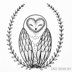 My best friends amazing art!! Sleeping Owl. Day 81 of yearlong sketchbook project. Cassie Loizeaux