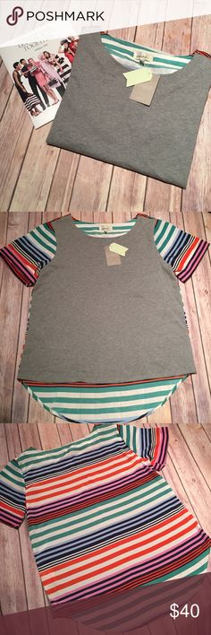 Anthropologie - Porridge Gray/Stripe Design NEW with Tags. Anthropologie Tops Blouses