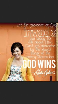 Let the presence of God invade you today, it's all about Him.  Don't get distracted by things of the enemy. Remember God wins!