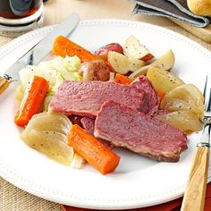 Guinness Corned Beef and Cabbage Recipe -Passed down through generations, this robust corned beef and cabbage recipe is requested often in our house. The Irish stout adds excellent richness to the corned beef. Just throw the ingredients together in the slow cooker and let them simmer until delicious! —Karin Brodbeck, Red Hook, New York