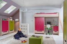 "HIHOT BRW Children's room furniture set. Energetic hues of green and pink combined with the muted tones ""oak Belluno"" will create an interior that will capture the imagination of the child and forever dispel boredom. Polish Black Red White Modern Furniture Store in London, United Kingdom #furniture #polish #brw #blackredwhite #childrensroom #kids"