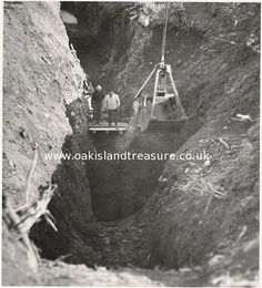 """Whoever originally dug this pit.  The Oak Island """"Money Pit"""".  Discovered 1795.  Originally around 200 ft deep.  It was filled in by its builders and no one has been able to get to the bottom of it."""