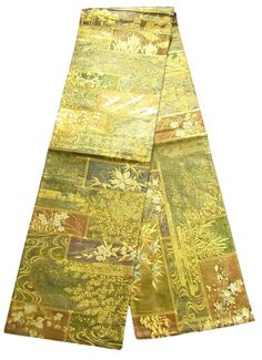 This is a graceful 'Zentsu'(fully patterned) Fukuro obi with auspicious design of crane and 'Matsu'(pine tree), seasonal flowers such as 'Ume' (plum blossom), bamboo leaf and 'Kikyo'(Japanese bellflower) on 'Shikishi'(square paper) and seasonal scenery, which is woven